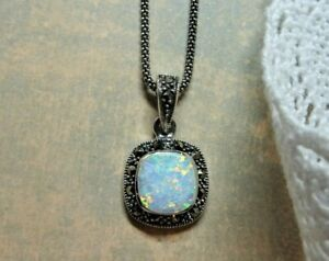 MySilver 925 Sterling Silver & Marcasite Opalite Pendant with chain