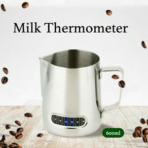 Milk Frothing Steam Pitcher Stainless Steel Espresso Art Coffee & Thermometer