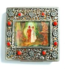 Antique 800 Italy Sterling Silver Hand Painted Scene Compact with Coral Cabochon