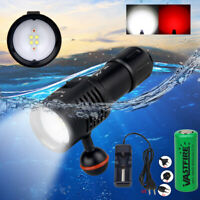 Underwater 100m 10000Lm 4x W+2x R LED Scuba Diving Photography Video Flashlight