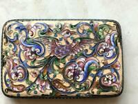 Antique Imperial Russian Gilt Sterling Silver 84 Enamel Cigarette Case Firebird