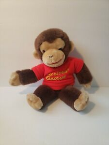 "Gund Curious George Stuffed Plush Brown Monkey Red Shirt Margaret Rey - 12"""