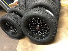 """20x10 XD820 Grenade Black Wheels & Fuel 33"""" Tires Package 6x5.5 Fits Chevy GMC"""