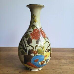 """Satsuma Japanese floral porcelain vase gold trim 9.75"""" crackle finish"""