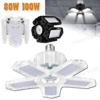 LED Garage Light Bulb Deformable Ceiling Fixture Lights Workshop Lamp 100W 80W
