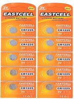 10 x CR1225 3V Pile Bottone Litio 50 Mah (2 Blistercard da 5 Batterie) Eastcell