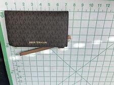 Michael Kors Jet Set Signature Brown Acorn Double Zip Wristlet Wallet