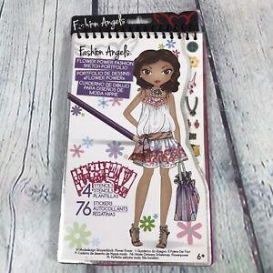 Fashion Angels Design Sketch Portfolio Book Flower Power Stencils Stickers 2015