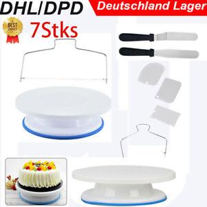 7tlg Tortenplatte Set Drehbar Streichpalette Kuchenretter Tortenheber Schaber DE