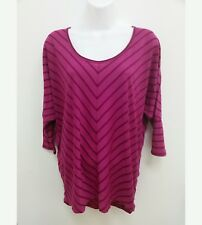 Mossimo Womens Blouse Sz M/L Fuchsia Striped Short Sleeve Dolman High Low B6