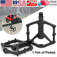 "Mountain Road Bike Bicycle Bearing Pedals Wide Nylon Black Pedal a Pair 9/16"" US"