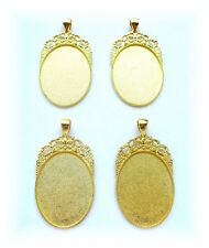 4 BRIGHT Goldtone Regal 40mm x 30mm CAMEO Costume PENDANTS Frames Settings