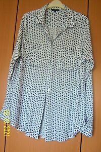 LADIES WHITE SHIRT 16 WITH BLACK MARKINGS HIDDEN BUTTON FRONT L SLEEVE WAREHOUSE