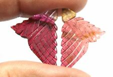 15.4Ct Natural Bi Color Tourmaline Gemstone 26X20X2.5mm Fancy Hand Carving S1123