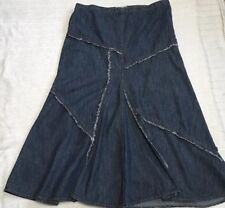 George Ladies Blue Denim Long Maxi Skirt Size 12 Womens