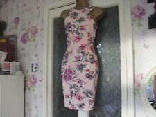 Paper Dolls dress High Neck  Pencil Pink Floral backless Print Dress Uk 10  BXR