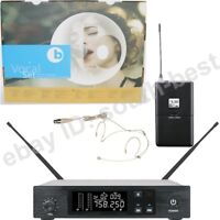MiCWL Beige Headset Wireless Vocal Microphone System UHF PLL Frequency Set D100