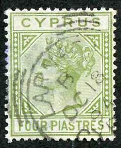 Cyprus SG35a 4pi Pale Olive-green wmk Crown CA Die 2 Cat 42 Pounds