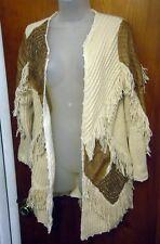 SANDY STARKMAN Boston Proper cardigan sweater XS western 1980s cowgirl w/ fringe