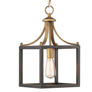 Mini Pendant 1-Light Open Cage Vintage Brass Chain Distressed Wood Accents Black