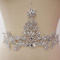 Luxury Crystal Wedding Applique Diamante Bridal Accessories Trim Beaded Motif
