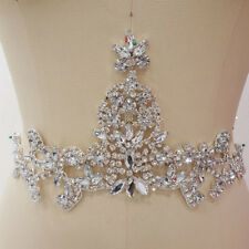 Luxury Crystal Wedding Applique Diamante Bridal Accessories Trim Beaded Motif
