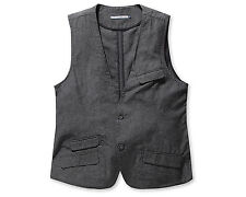 Chris Mens Casual Pocket Detailed Sleeveless Cotton Vest Dark Gray Size M NWT