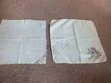"""Collectible Child Handkerchief Set 2 Bunny Hanging Stocking Fireplace Lace 10"""""""
