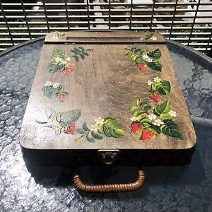 Portable Brown Wicker Slant Top Writing Desk w/Handle Beautifully Handpainted