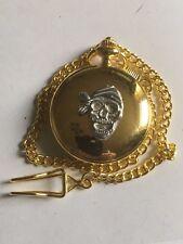 Pirate Skull Bandana TG274 Pewter on a Gold Pocket Watch Quartz fob
