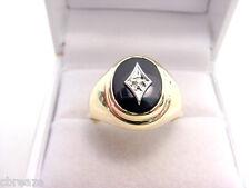 VERY NICE BLACK ONYX with DIAMOND MEN'S 10K GOLD RING  4.84 GRAMS  SIZE 9 2/3