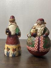 "Jim Shore ""Christmas Warmth"" 2005 Roly Poly Big Santa Claus & 2002 Santa W Birds"
