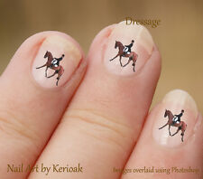 Horse, Dressage event, Set of  24 Nail Art Stickers Decals