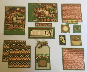 WELCOME FALL Premade Scrapbook Page Mat Set SEWN