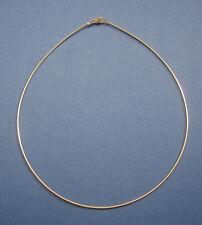 Omega Reif 925 Silber vergoldet Halsreif 1,0 mm 40 cm Karabiner-Verschluss