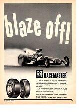 1962 M & H RACEMASTER TIRE  ~  NICE ORIGINAL PRINT AD