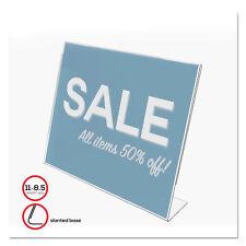 Deflecto Slanted Desk Sign Holder Plastic 11 x 8 1/2 Clear 66701