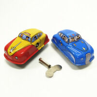 Vintage Wind-up Car W/ Key Clockwork Metal/Tin Toy Kids Collectible Gift