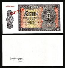 GERMANY 10 DEUTSCHE MARK 1954, SPECIMEN (MUSTER) AA000000, BERLIN, UNC, P-18