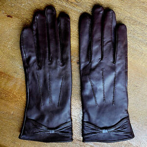 Vintage Brown Leather Winter Gloves Woman's 7 1/2 Medium