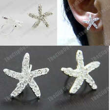 U CLIP ON silver fashion STARFISH diamante CRYSTAL EARRINGS star fish rhinestone