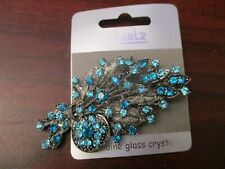 Ladies Brooch Turquoise Bouquet Brooch with Glass Crystal Detail