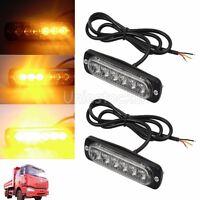 2X Amber Car 6LED Flashing Recovery Strobe Light Breakdown Indicator Lamp 12-24V