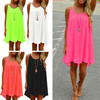 Women Casual Loose Sleeveless Mini Dress Ladies Summer Beach Chiffon Shirt Dress