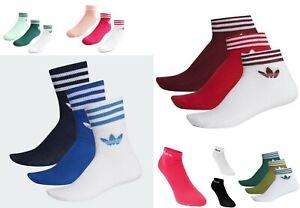 3 Pairs Unisex Adidas Original colour Trefoil Ankle Quarter Sock 2-5- 5-8- 8-11
