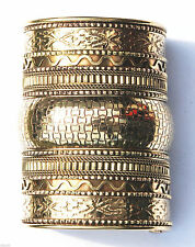 Shiny Brass Stamped & Twisted Wire Ethnic Look 3-3/4-inch Long Cuff Bracelet