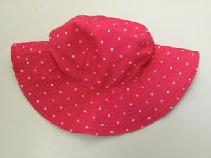 Carters Girls Bright Pink Bucket Hat White Polka Dots Size 4-8