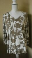 CHICO'S White Brown Palm Trees Long Sleeve V-Neck Hi-Low Tunic Top Size 3