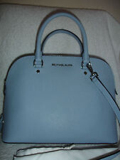 NWT Michael Kors CINDY 30S5SCPS3L Pale Blue Large Dome Leather Satchel