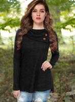 Women's Fashion Long Sleeve Round Collar Black Tops Sweater